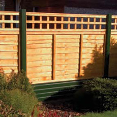 Example of Southern Decks PVC Fencing with Larch Lap Panels